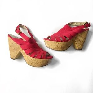 Michael Antonio red strappy cork wedge sandal
